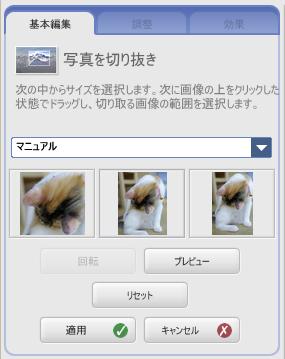切り取りツールを使うと、自由に写真を切り出せます。