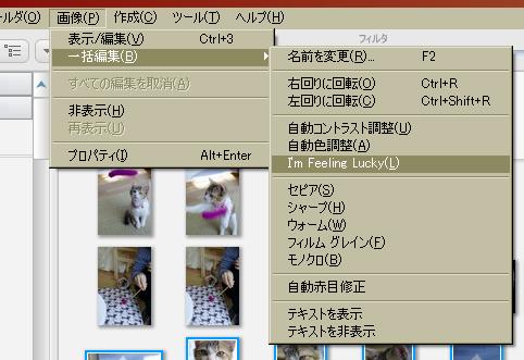 そして、ツールバーの「画像」→「一括編集」に進みます。