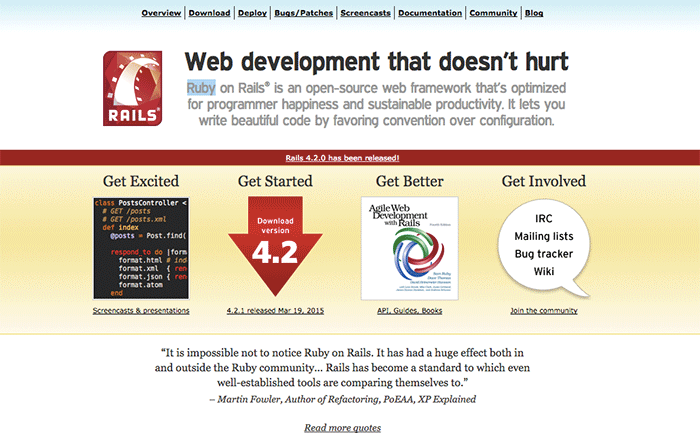 Ruby on Rails サイト